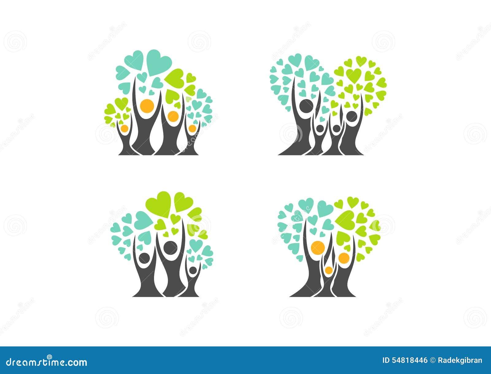 Stammbaumlogo, Familienherz-Baumsymbole, Elternteil, Kind, Parenting, Sorgfalt, Ikonen-Designvektor der Gesundheitserziehung gese