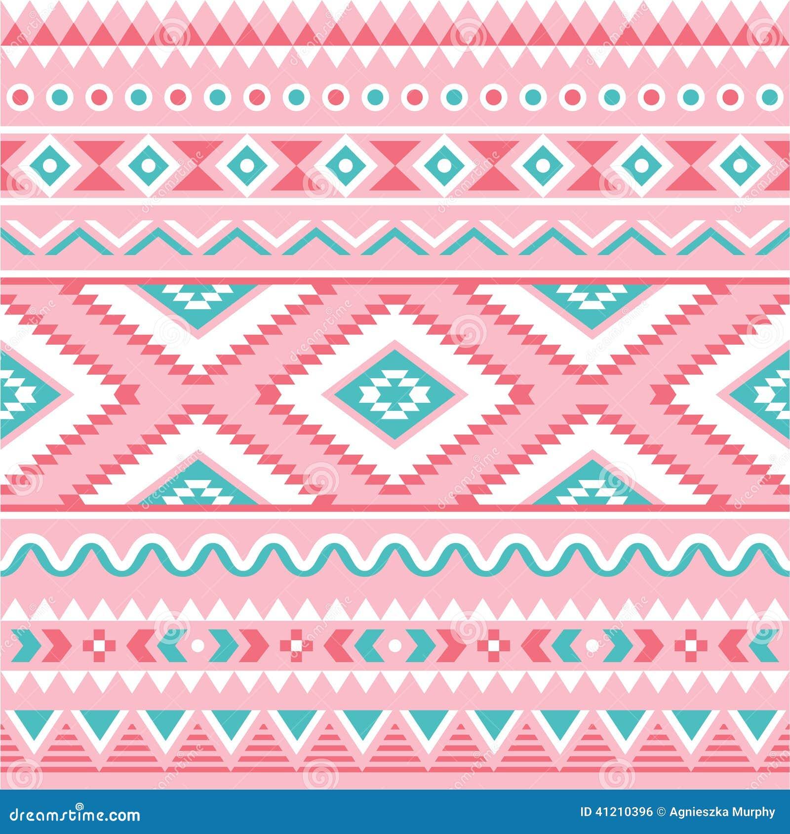 Stammen naadloos patroon, Azteekse roze en groene achtergrond