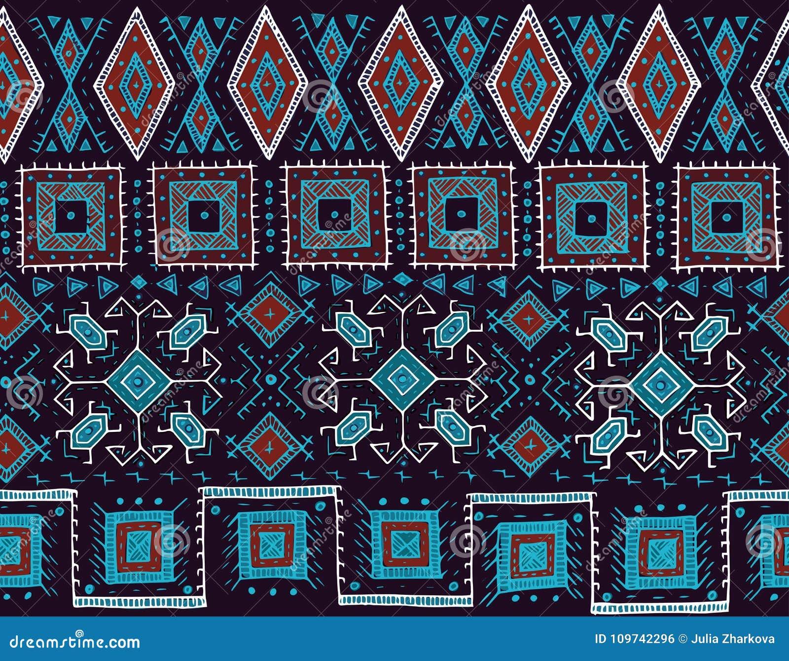 Stammen naadloos patroon Indische of Afrikaanse etnische zegelstijl Hand-drawn vectorbeeld voor textiel, decoratief