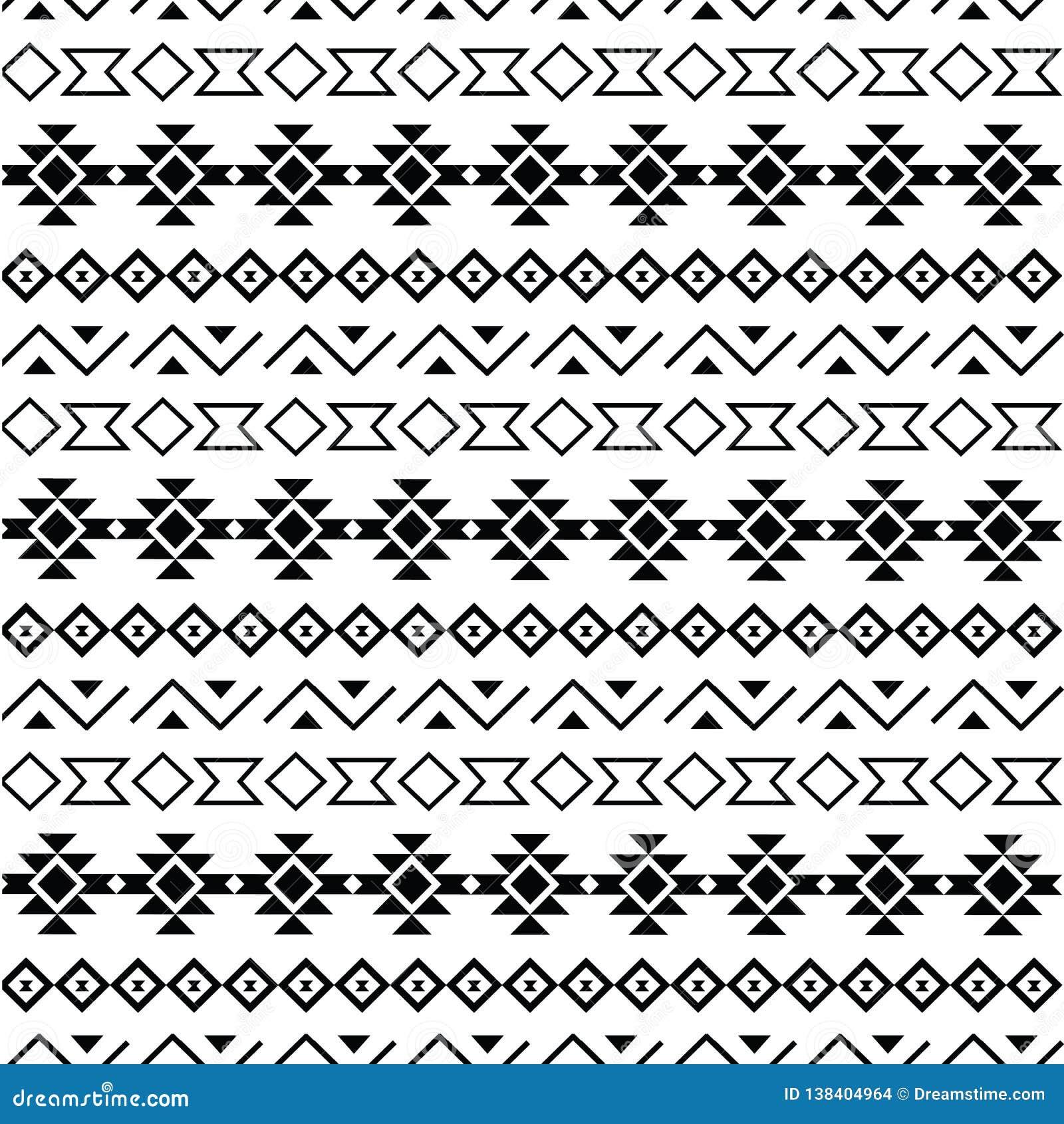 Stammen naadloze patroonzwarte op witte achtergrond