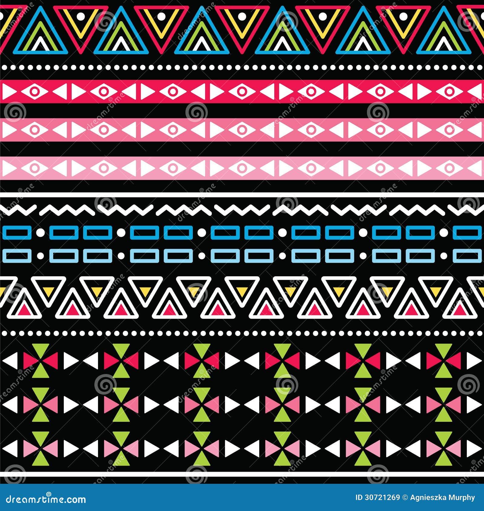 Stammes- Aztekisches Buntes Nahtloses Muster Lizenzfreie ...