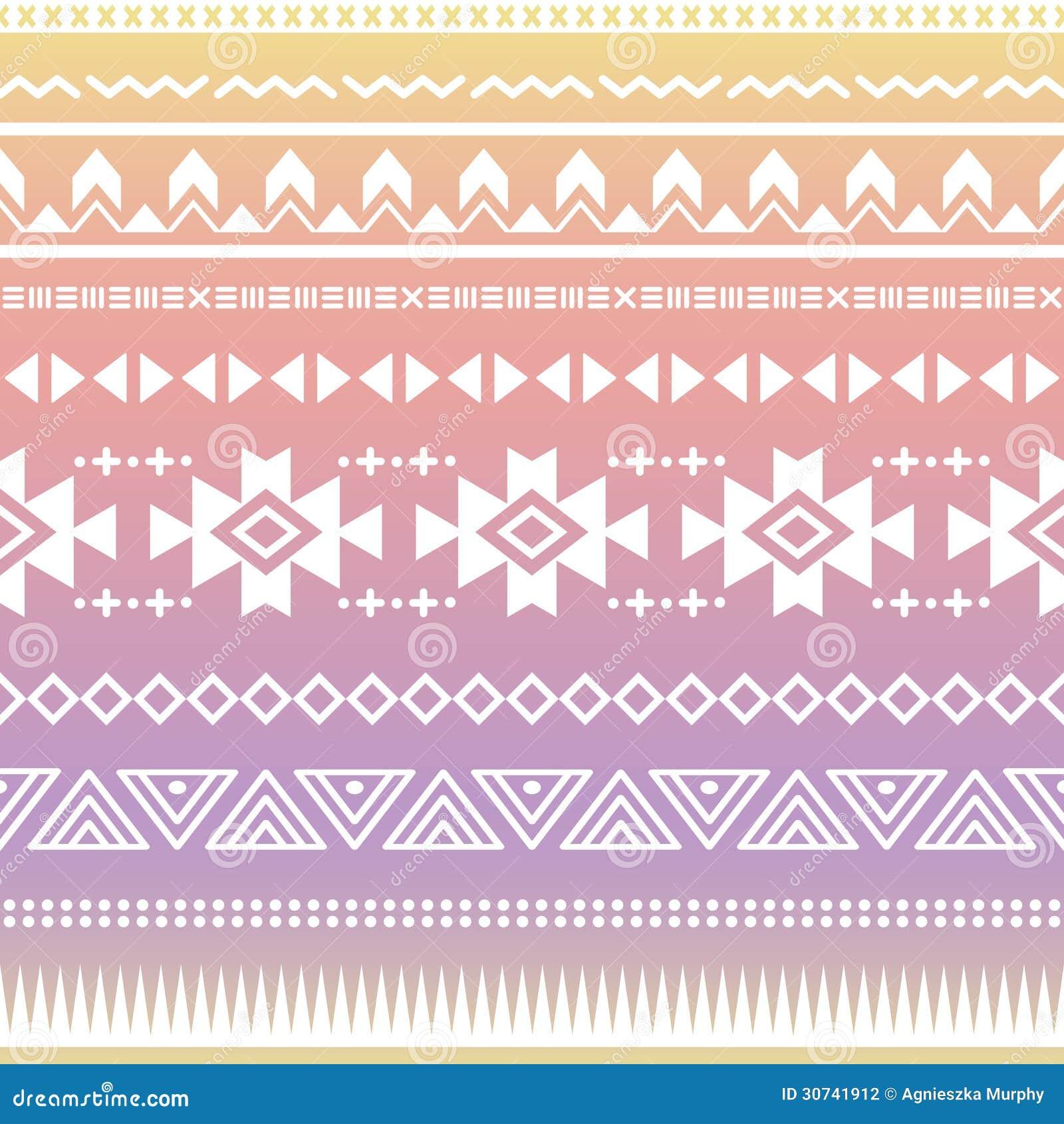 Stammes- Aztekisches Ombre Nahtloses Muster ...