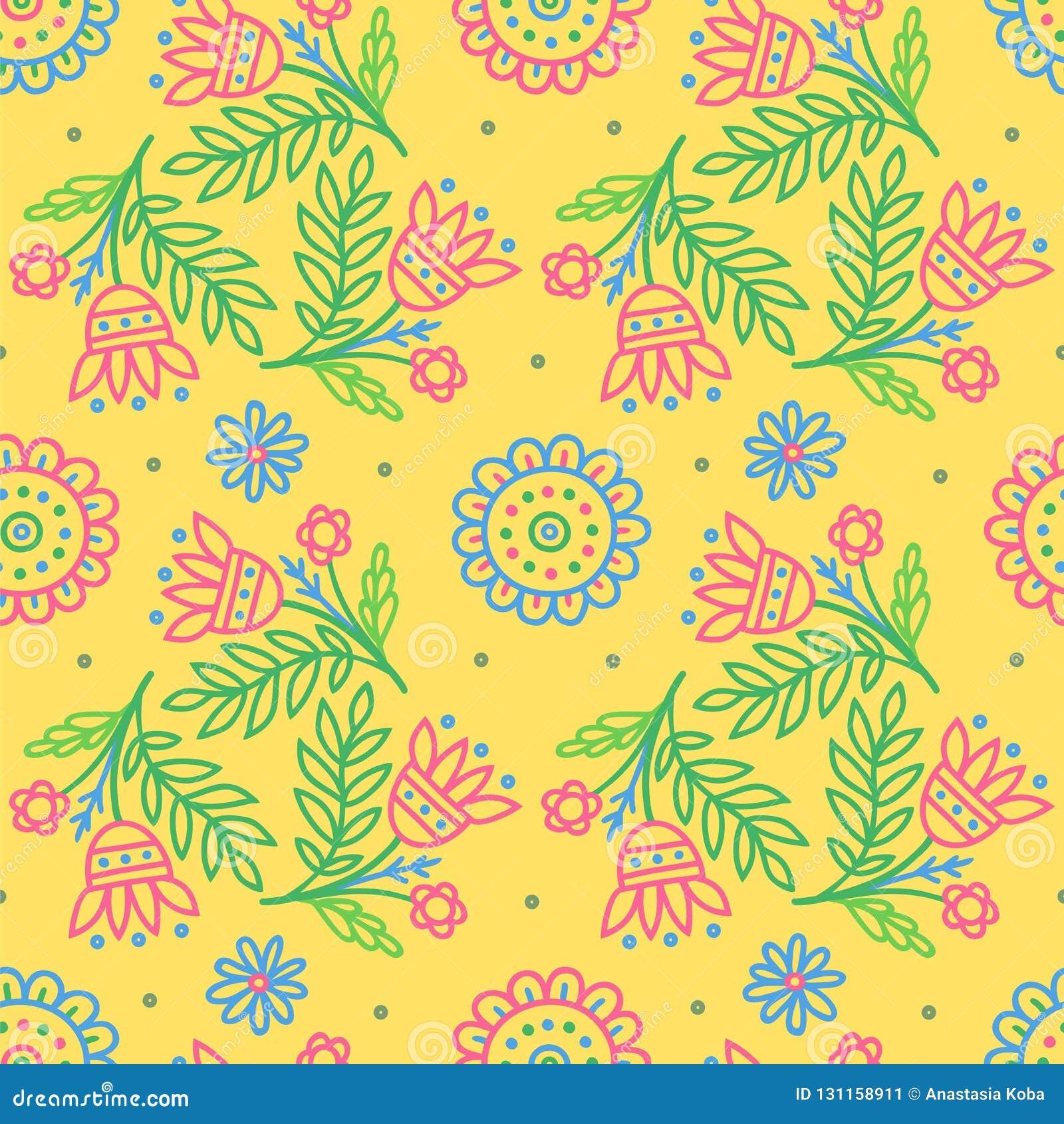 Stammes- Druck Ethnischer Hintergrund Gelbe Blumen, Basisrecheneinheit, Inneres mit Tropfen Vektortapete