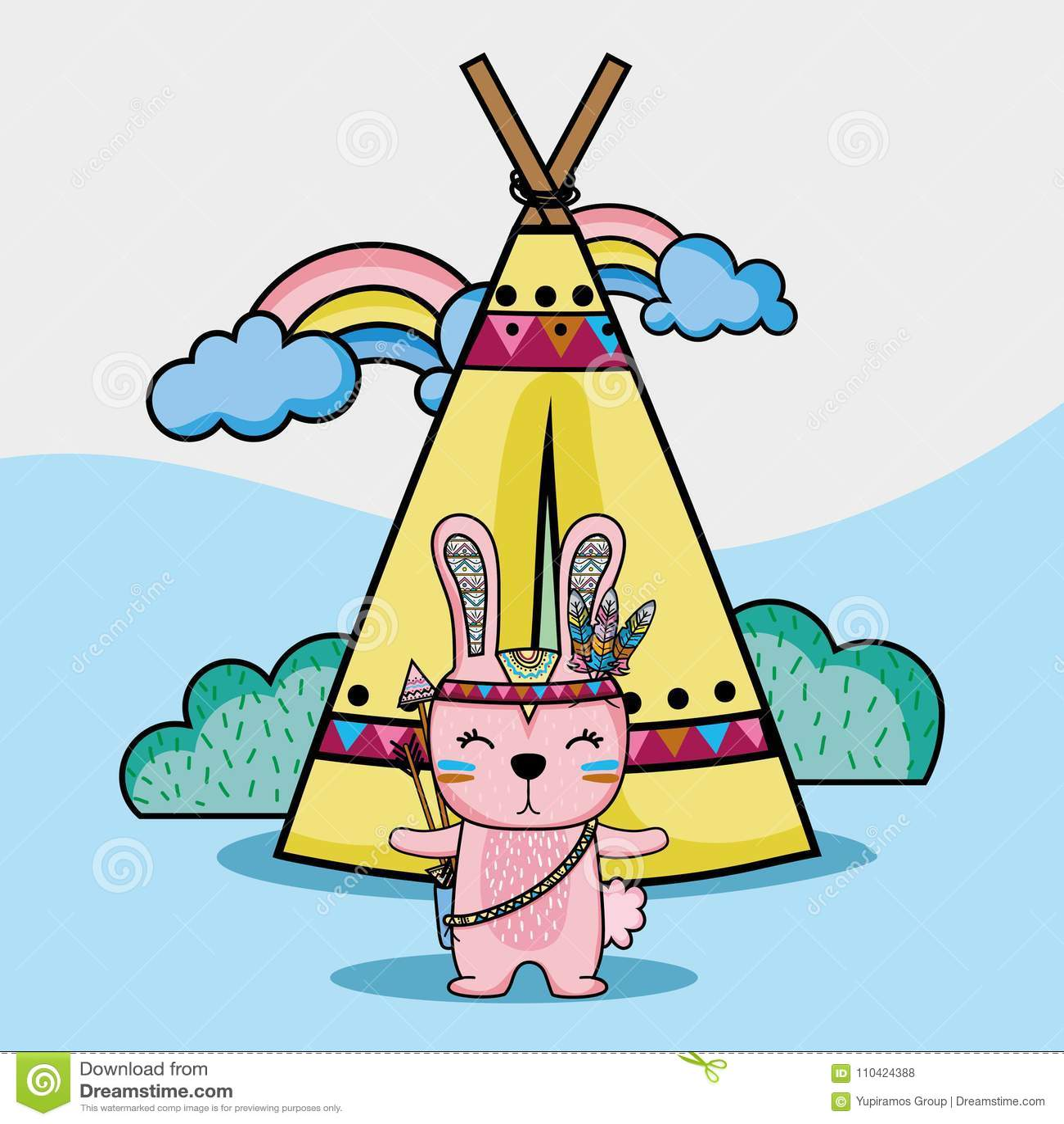Stammes- Tier des Kaninchens mit Lager und Regenbogen