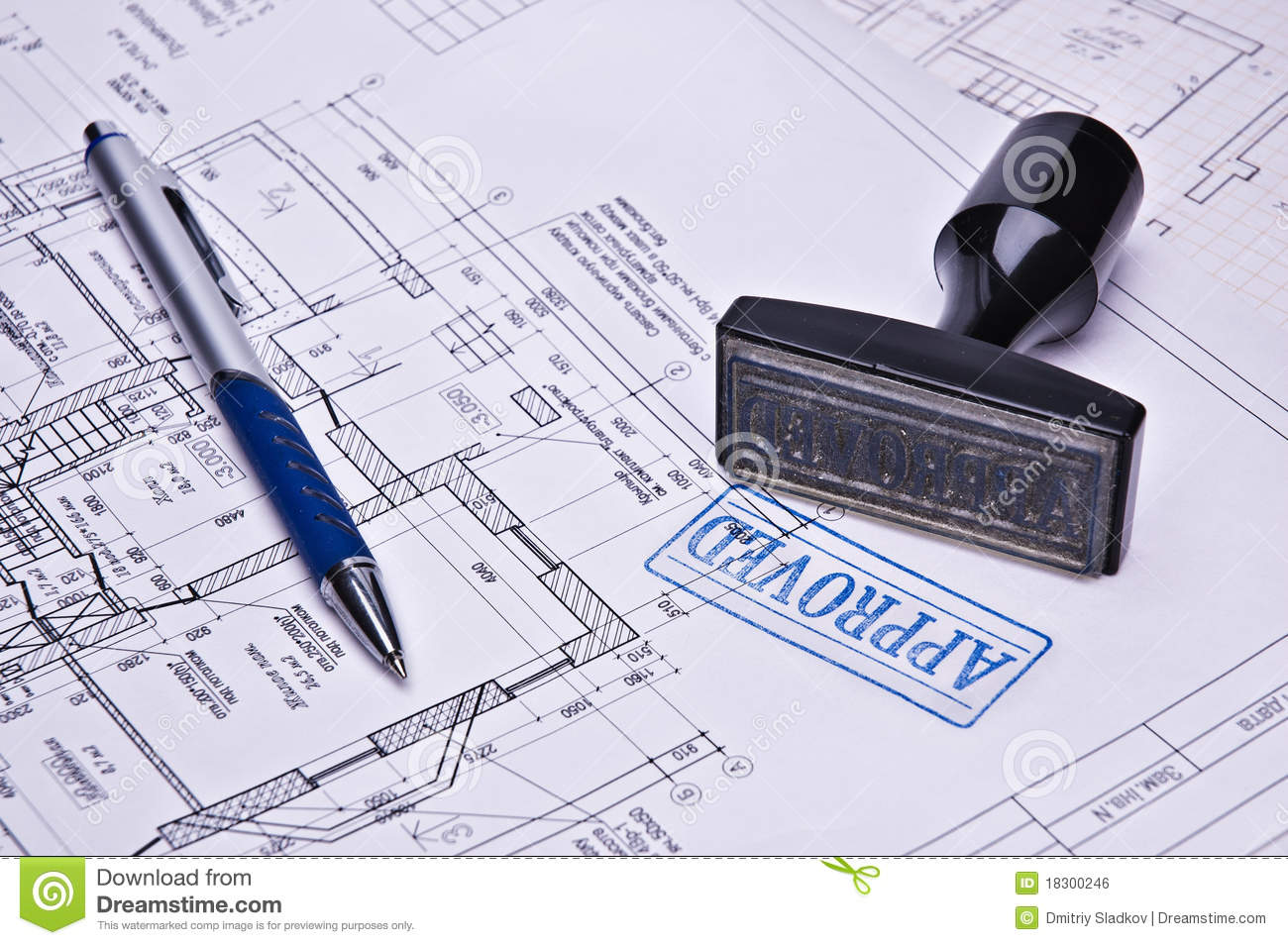 Architects Business Cards Stamp Approved Royalty Free Stock Image Image 18300246