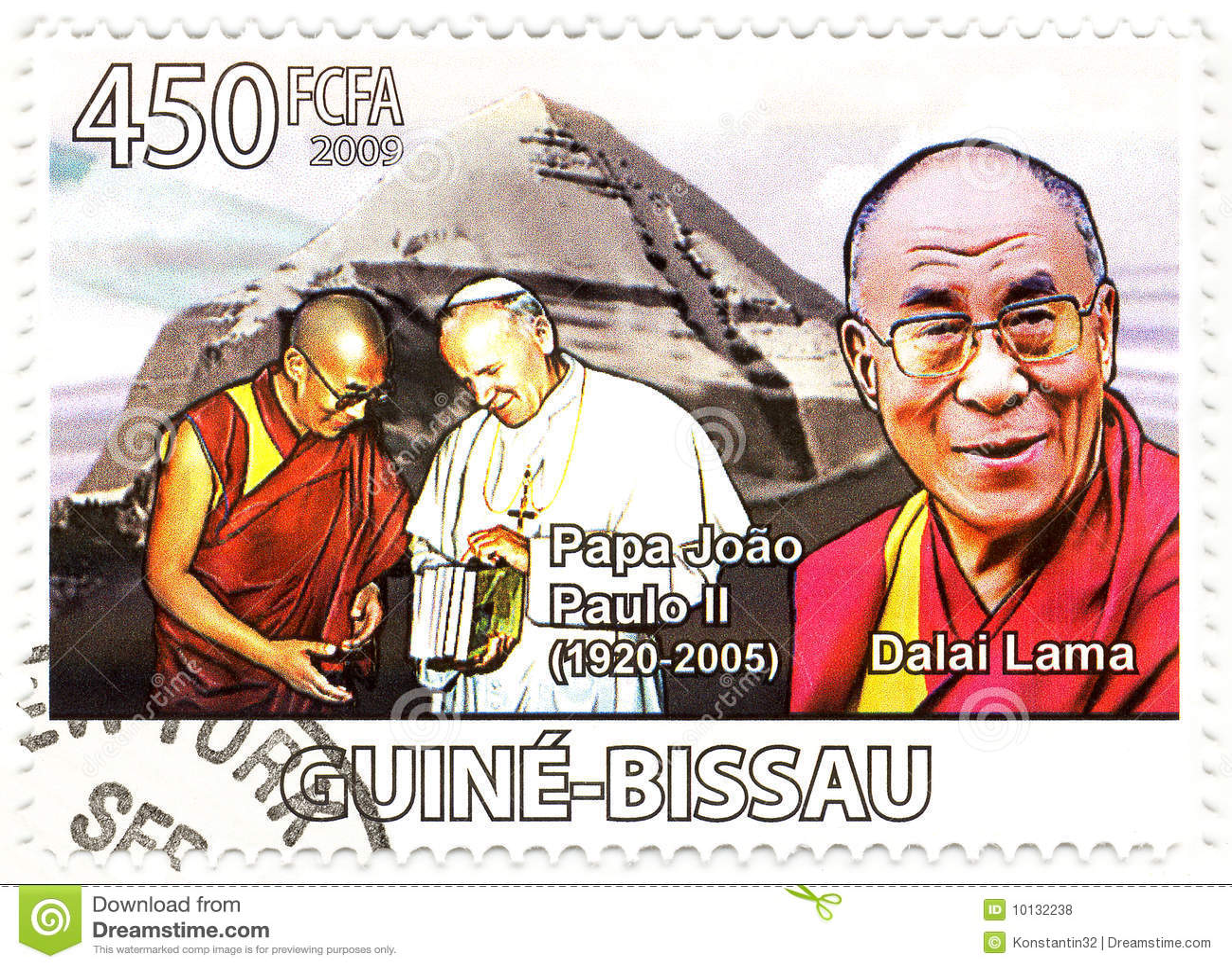 Stamp with Dalai Lama and Papa Paul II