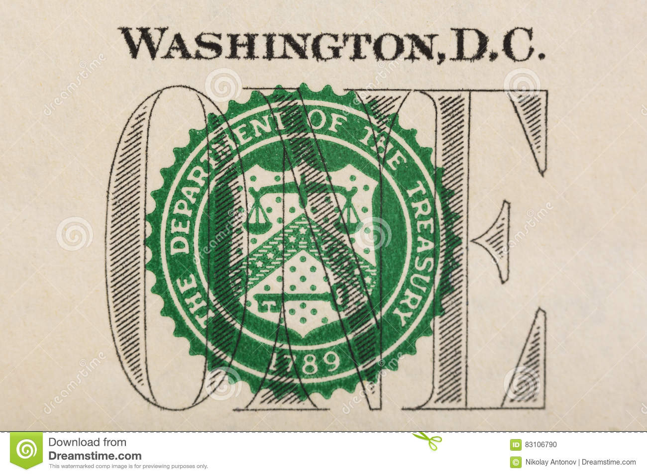 Stamp Of The Department Treasury On US One Dollar Bill Closeup Macro