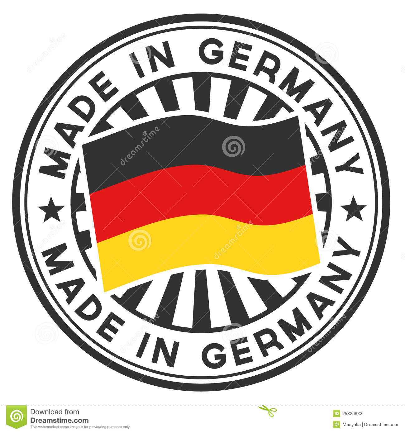 stamp with flag of the germany made in germany stock vector illustration of shield design