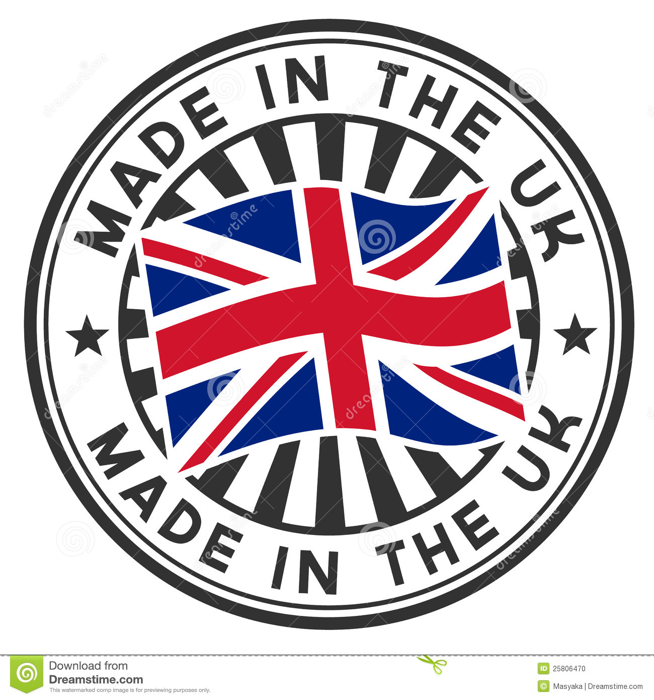 Stamp with flag of the uk made in the uk stock photo for Mode in england