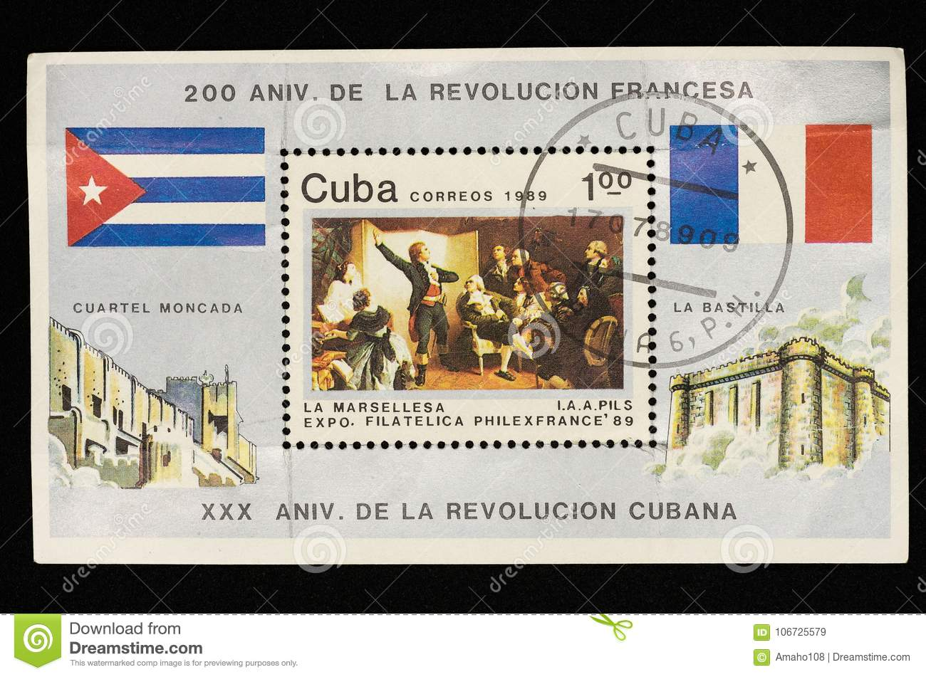 The stamp issued in Cuba in 1989