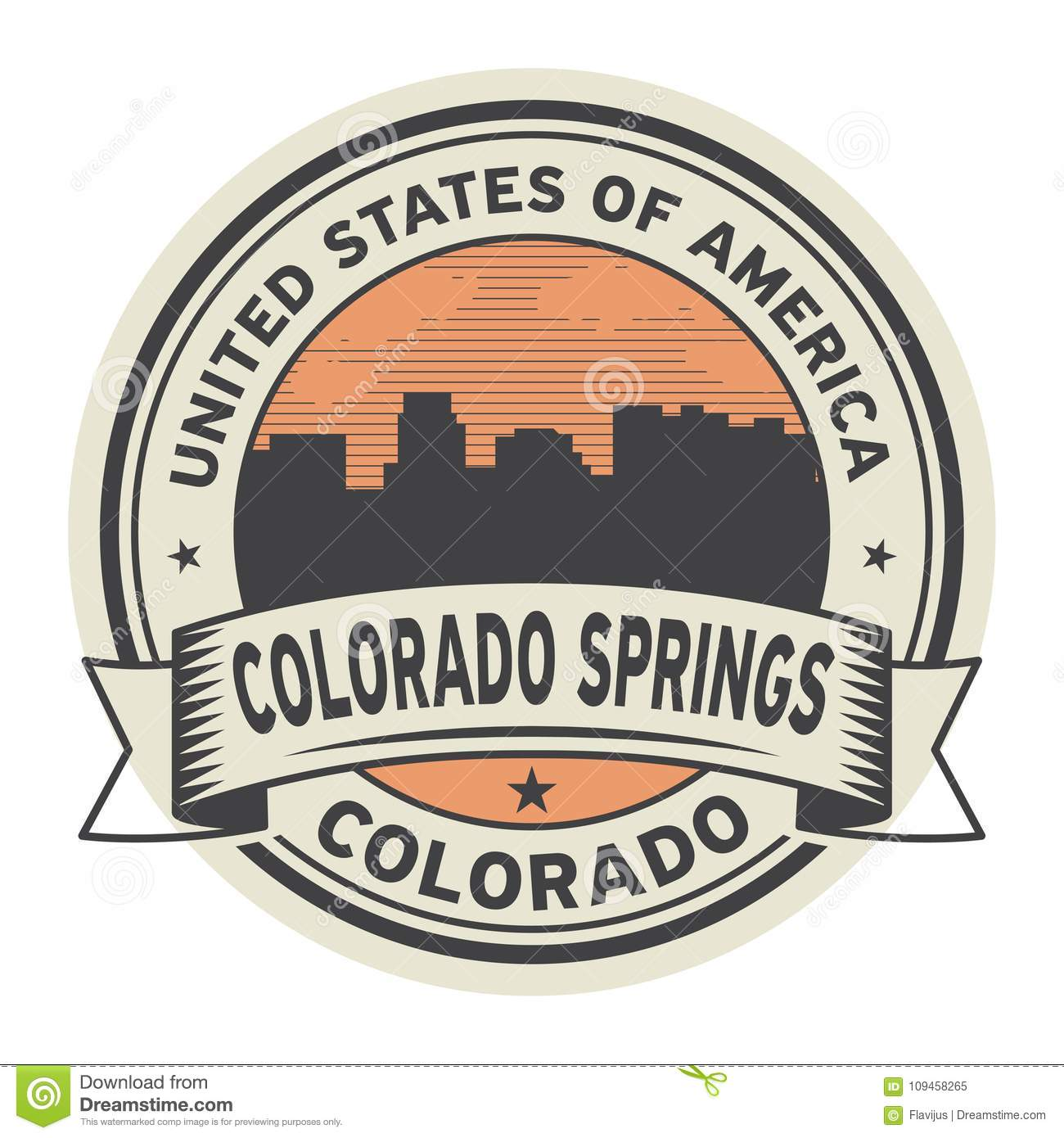 Stamp Or Label With Name Of Colorado Springs