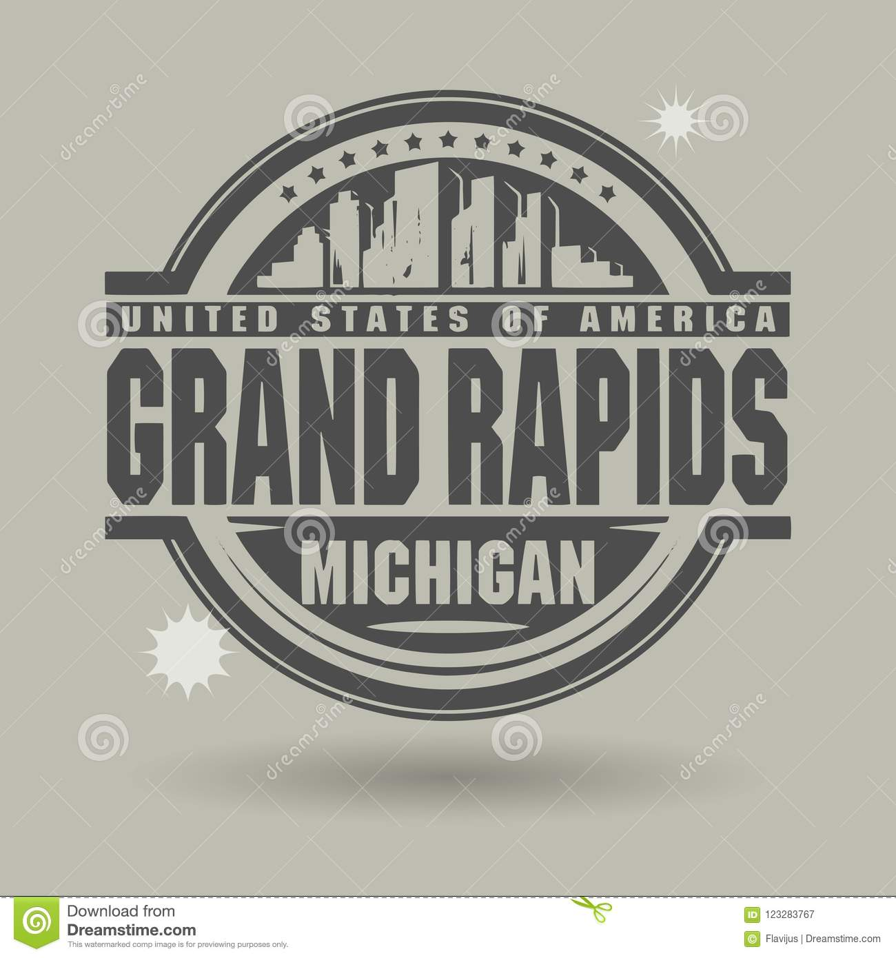 Stamp Or Label With Text Grand Rapids, Michigan Inside