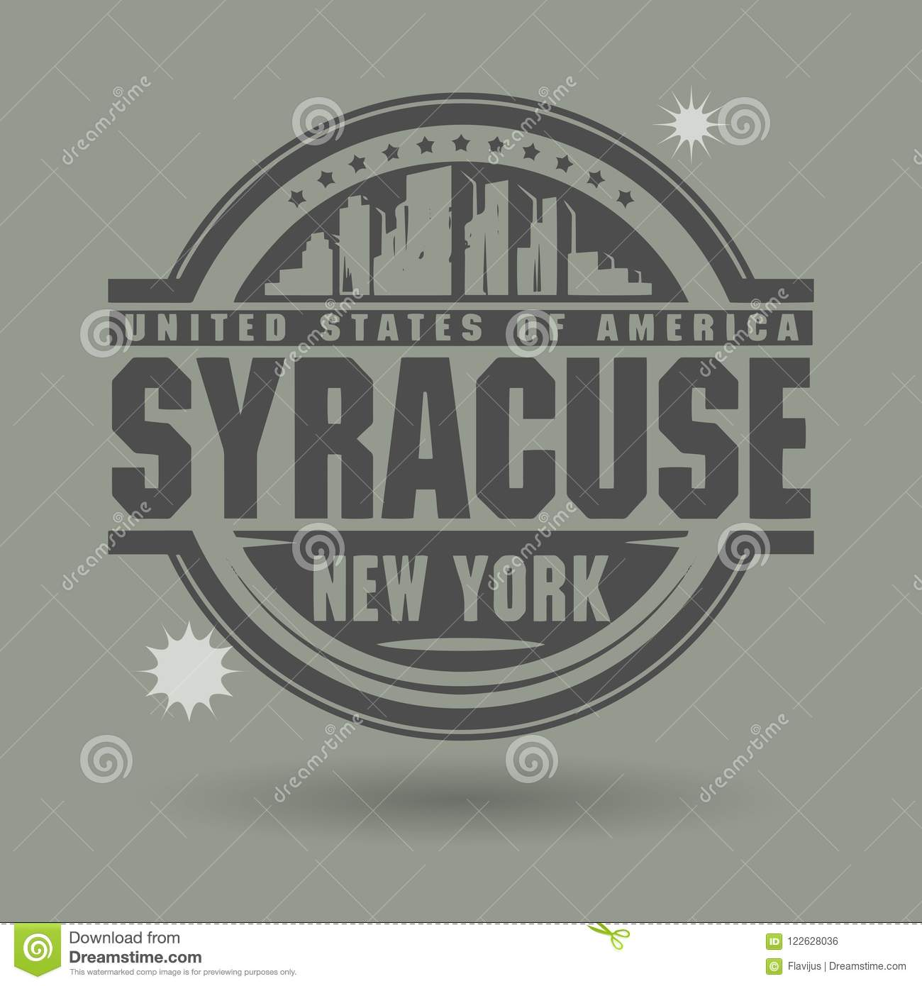 Download Stamp Or Label With Text Syracuse New York Inside Stock Vector