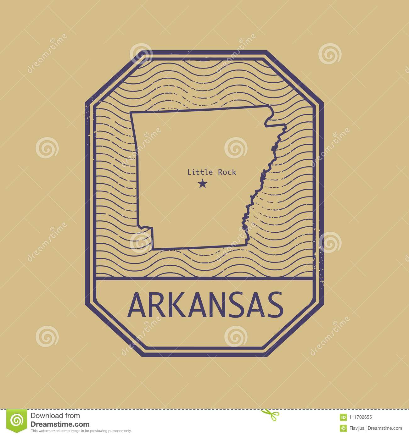Arkansas United States Map.Stamp With The Name And Map Of Arkansas United States Stock Vector