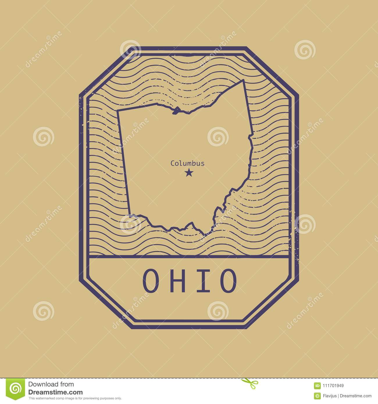 Ohio United States Map.Stamp With The Name And Map Of Ohio United States Stock Vector