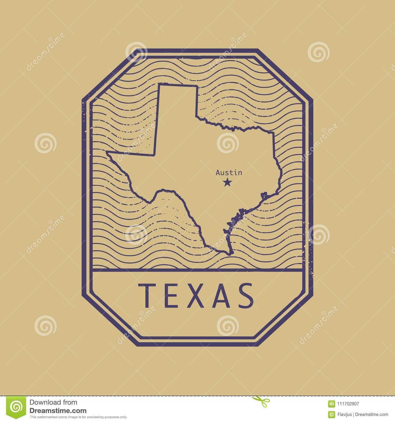 Map Of Texas United States.Stamp With The Name And Map Of Texas United States Stock