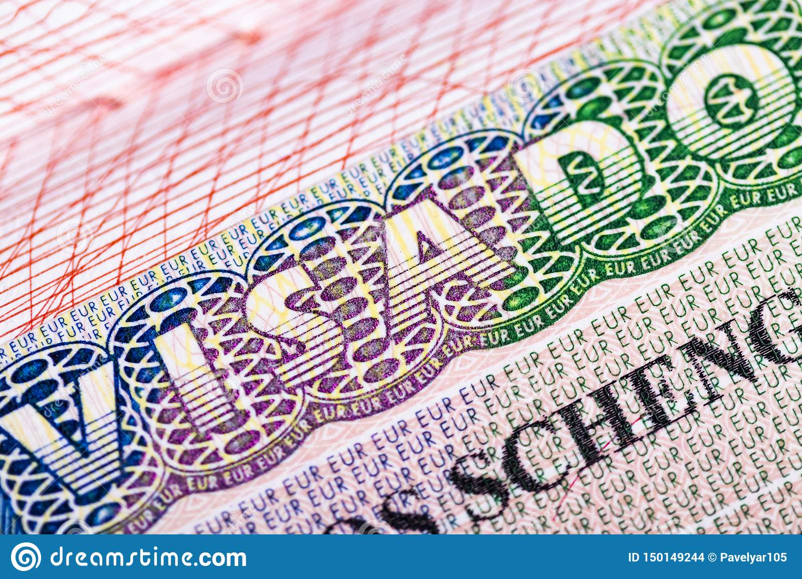 Stamp in the passport for travel and entry into Spain
