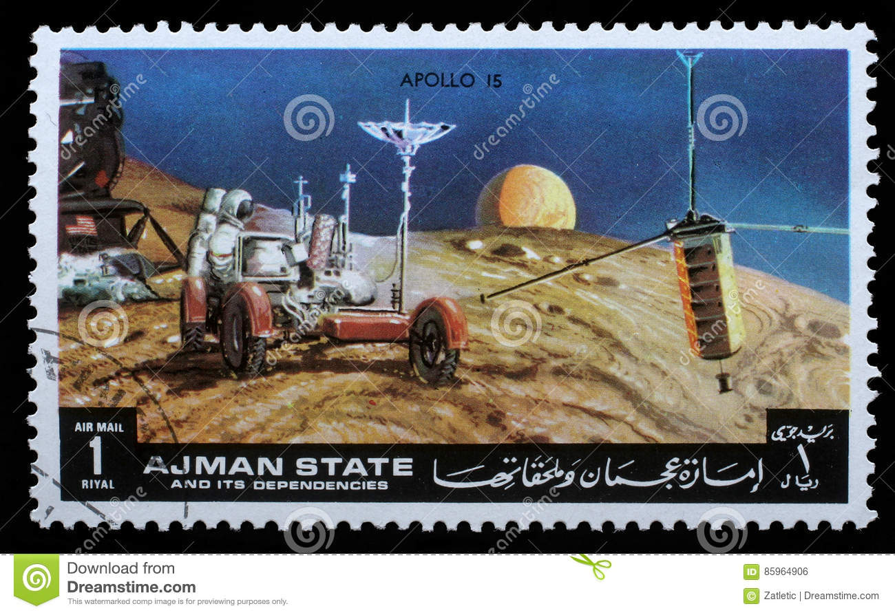 Stamp printed by Ajman shows Apollo 15 - TV Broadcasting
