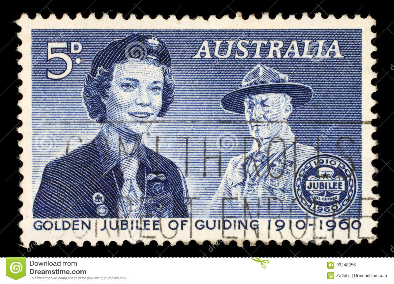 Stamp Printed In The Australia Shows Girl Guide And Lord Baden Powell