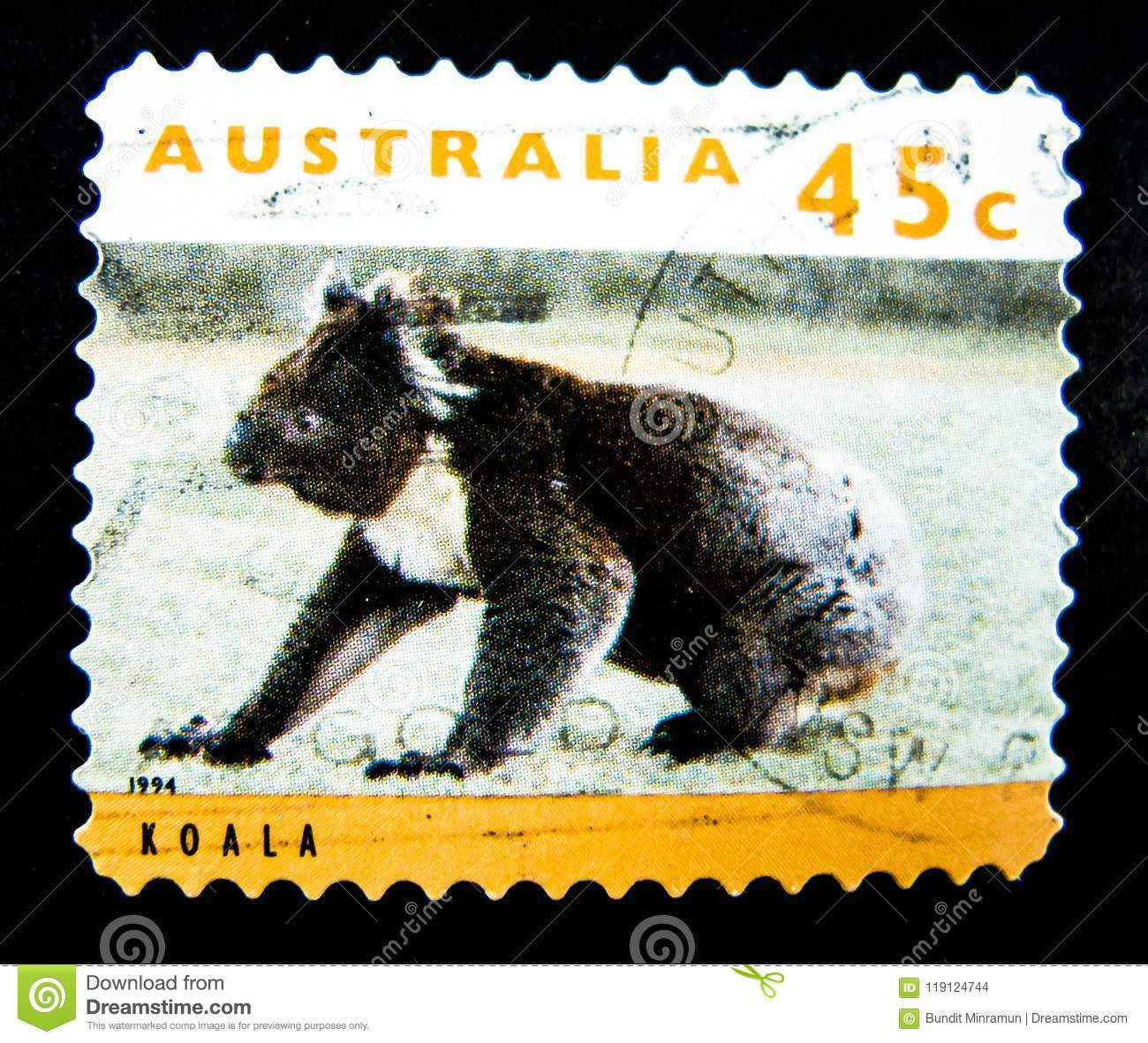 A Stamp Printed In Australia Shows An Image Of Koala On Value At 45 Cent