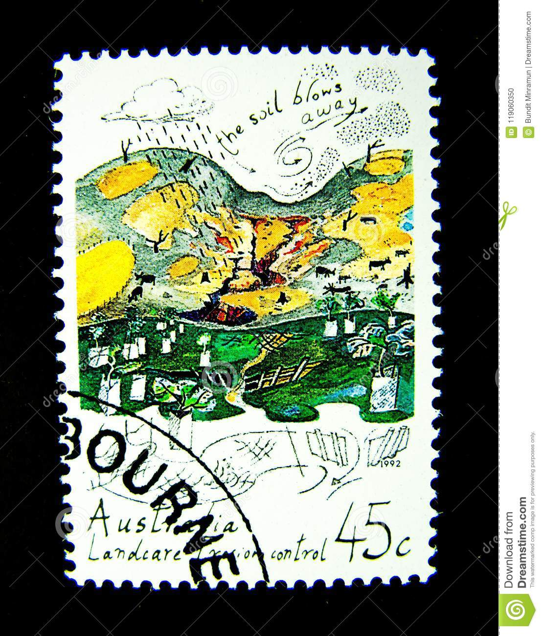 A Stamp Printed In Australia Shows An Image Of Landcare Erosion Control On Value At 45