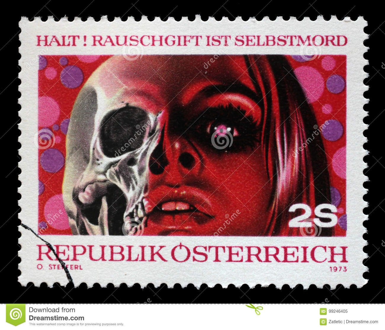 Stamp Printed By Austria, Shows Drugs Are Death Editorial Image ...