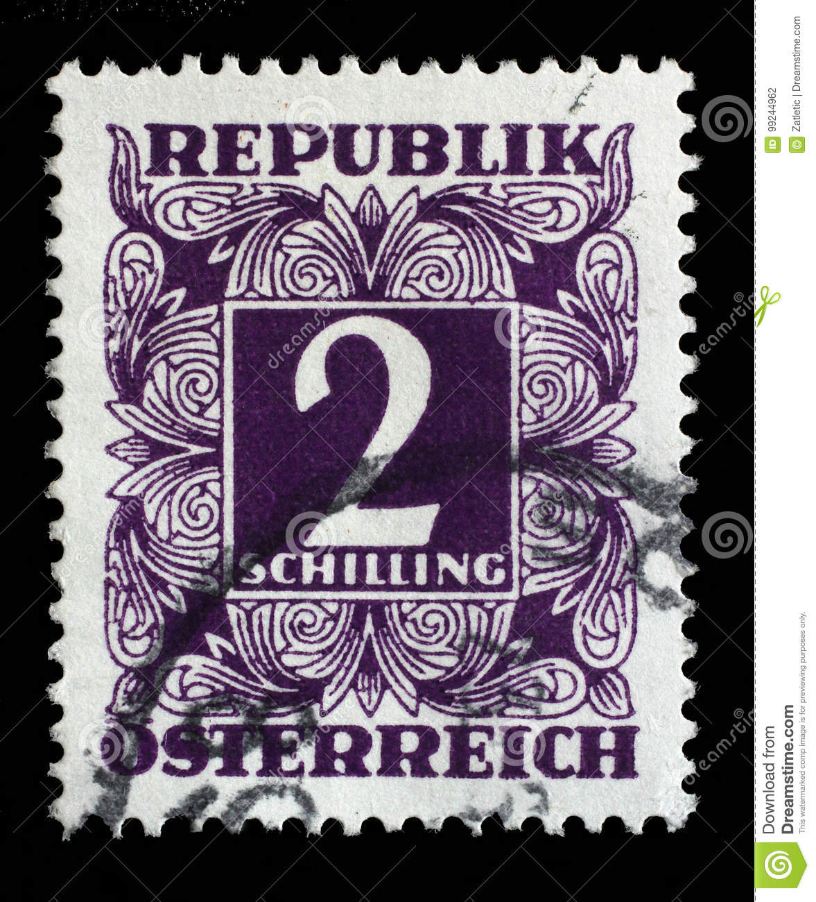 Stamp Printed In Austria, Shows The Numbers, Face Value
