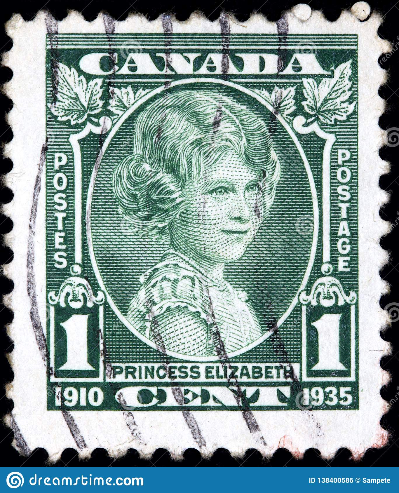 Stamp printed by Canada shows the future Queen Elizabeth aged about 10