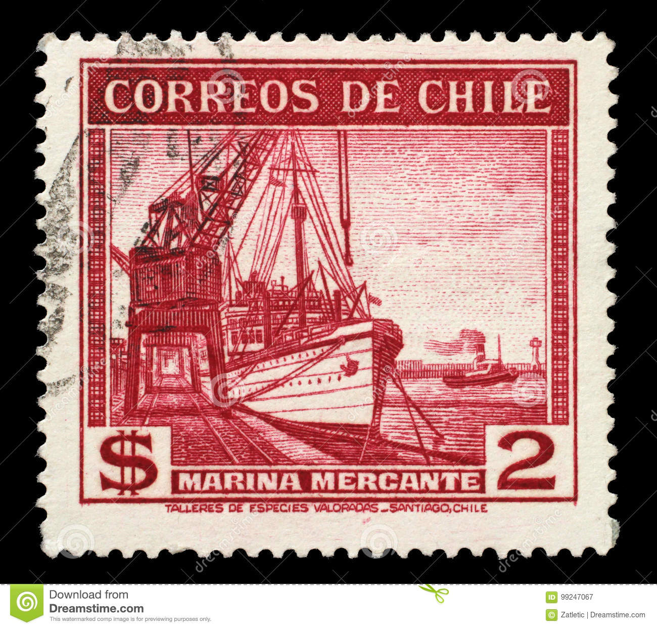 Stamp Printed In Chile Shows Sailing Ship Merchant Fleet