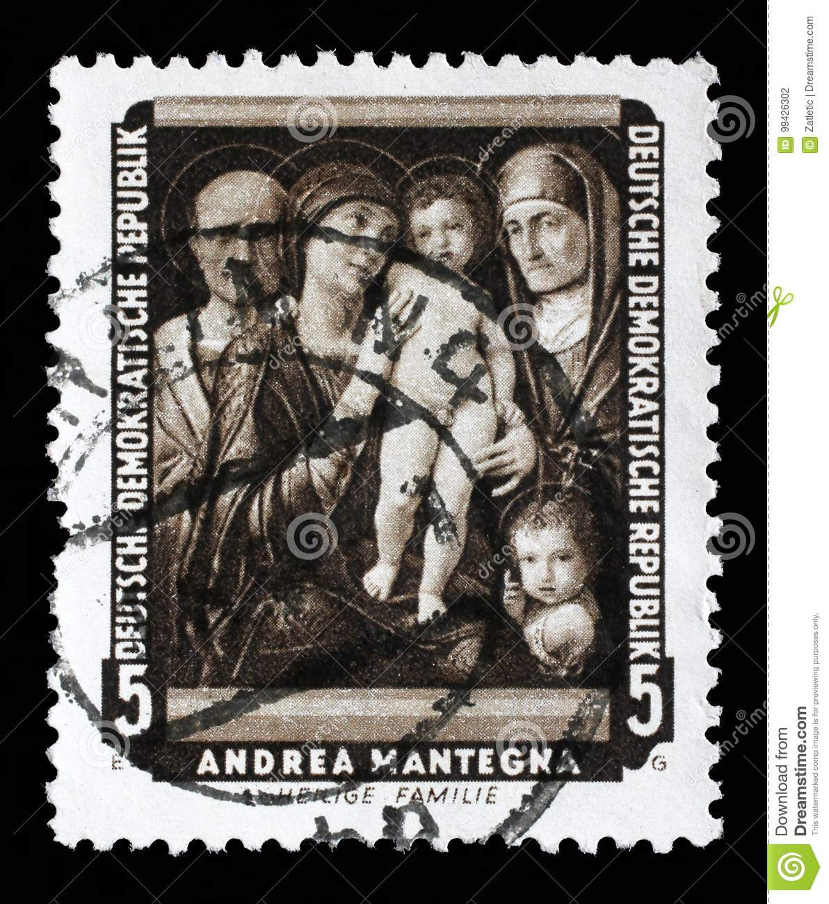 Stamp printed in DDR shows the painting Holy Family, by Andrea Mantegna