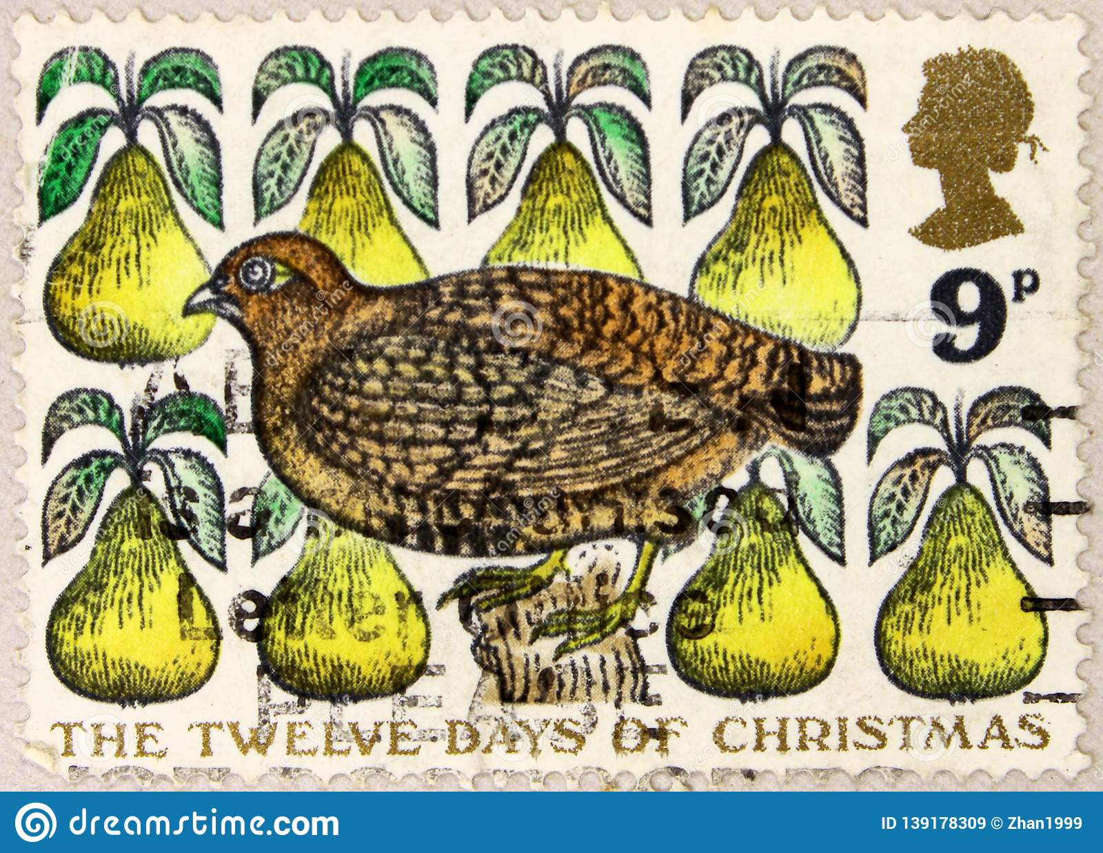 A stamp printed in United Kingdom shows Partridge in a Pear Tree