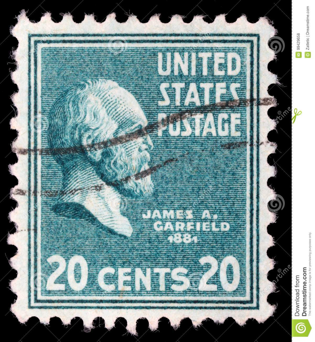 Stamp printed in United States. Displays a portrait of of James Abram Garfield