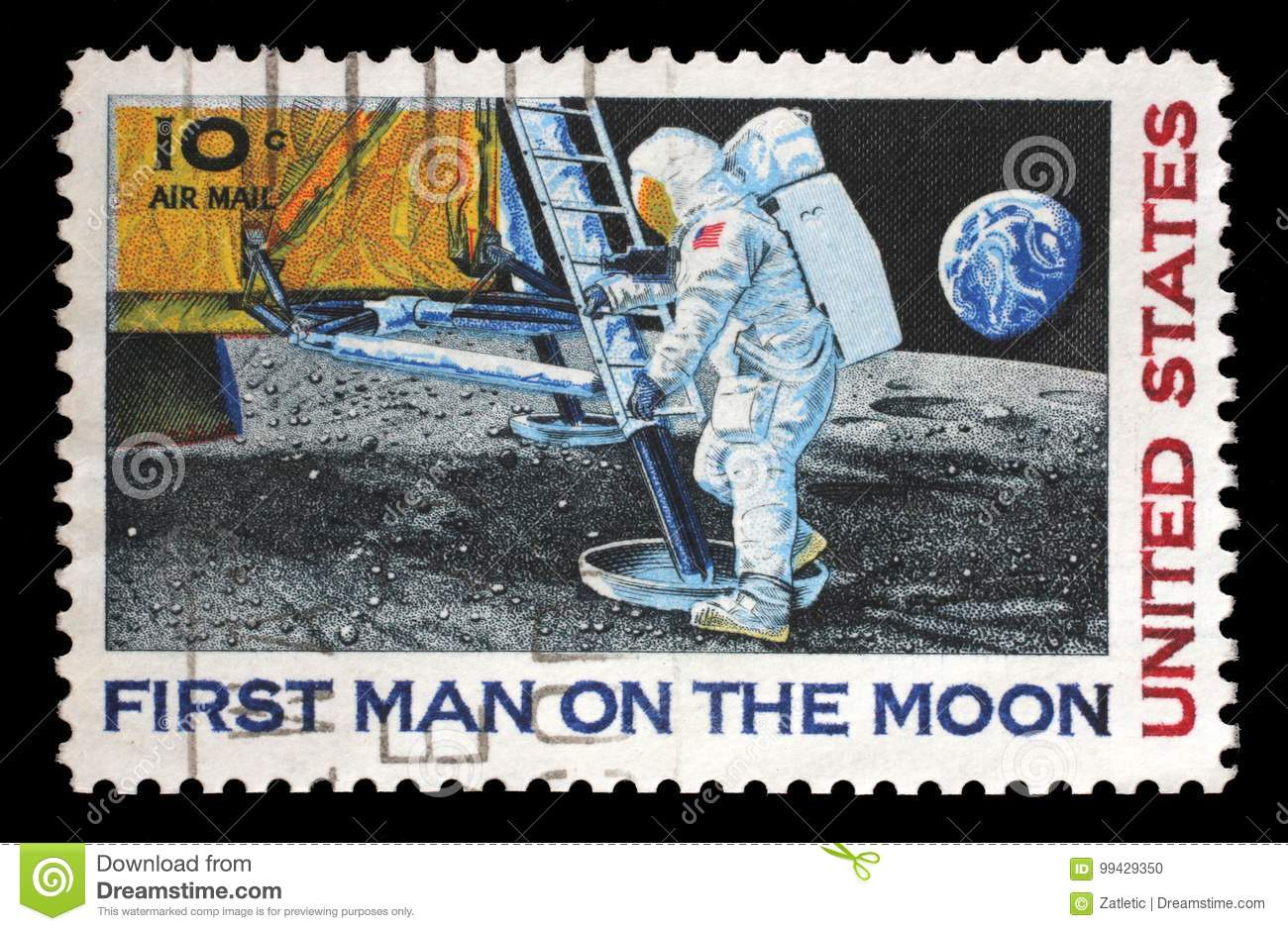 Stamp printed in USA shows Astronaut Neil Armstrong on the Moon