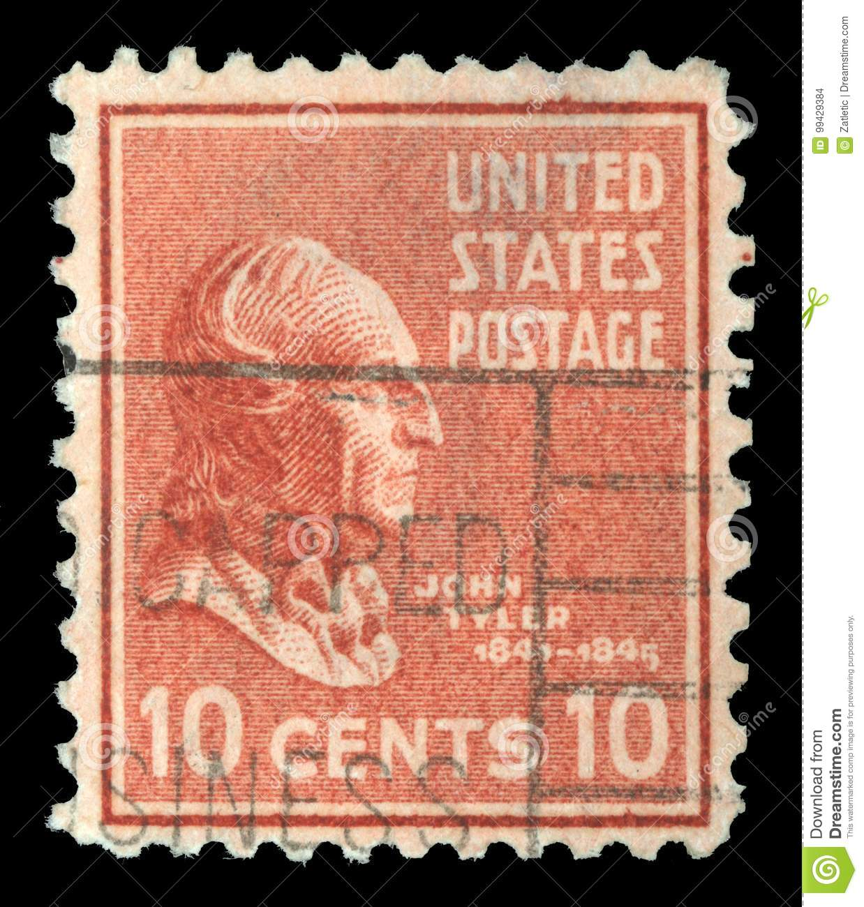 Stamp printed in the USA shows image of President John Tyler