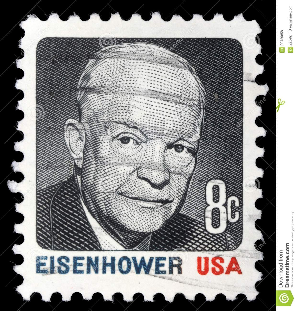 Stamp Printed In USA Shows Portrait President Dwight David Eisenhower