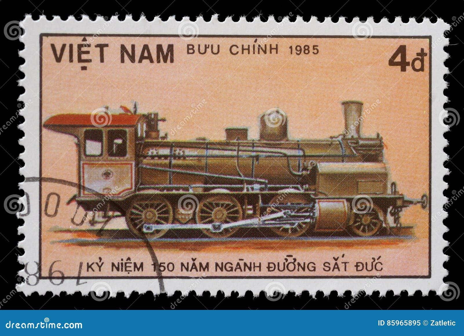 Stamp printed in Vietnam showing steam locomotive