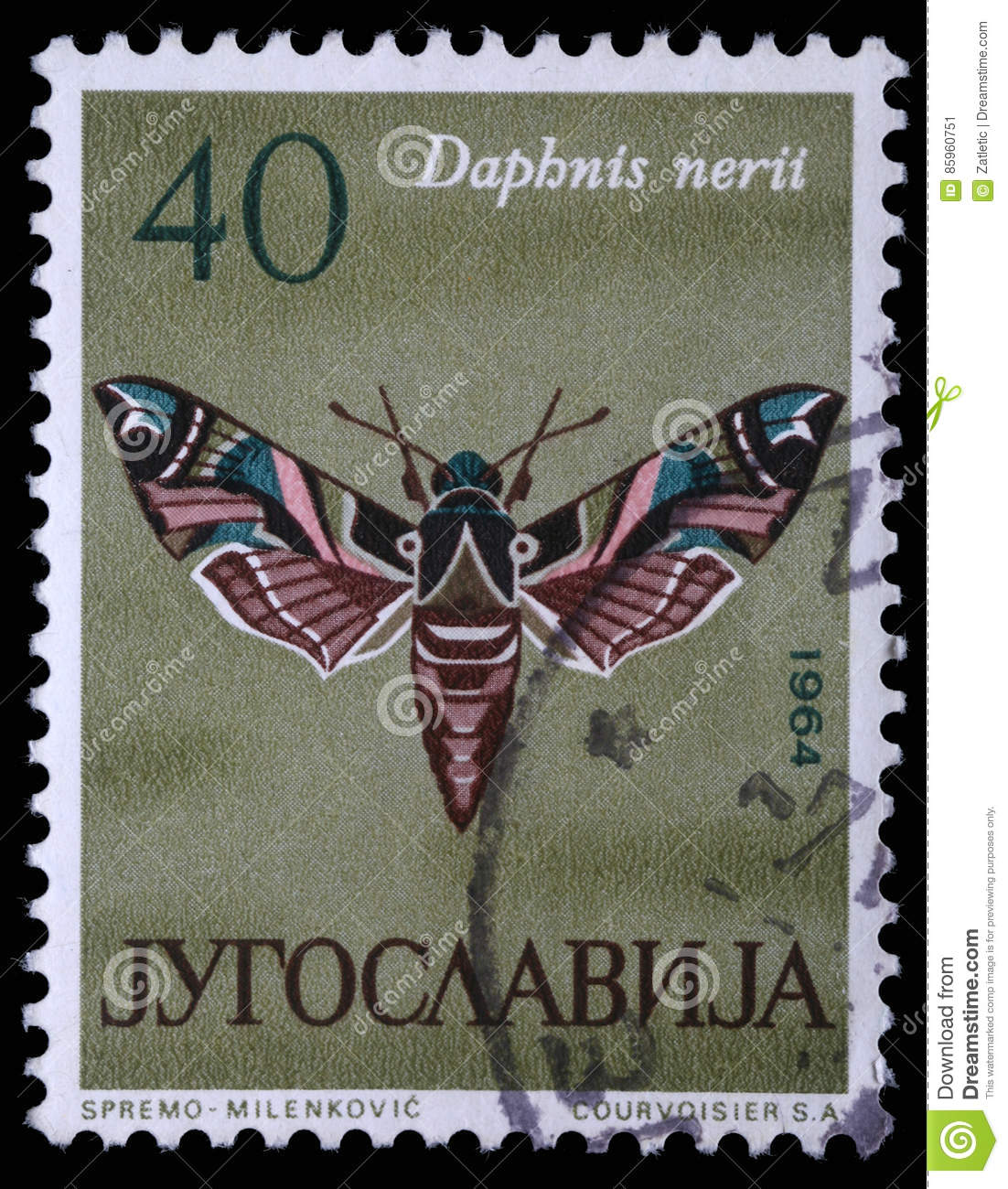 Stamp printed in Yugoslavia shows butterfly