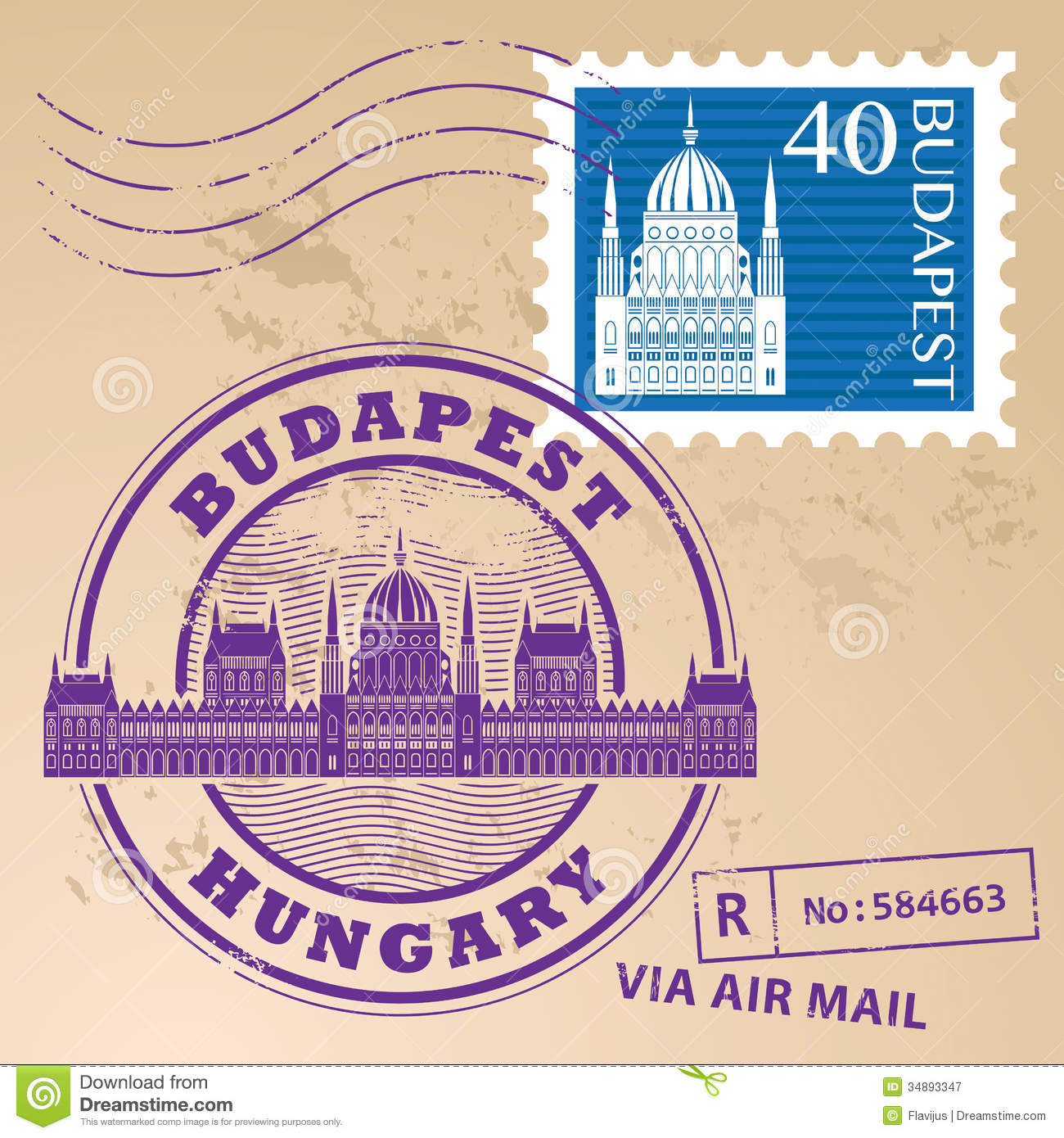 Stamp Set Budapest Royalty Free Stock Photography