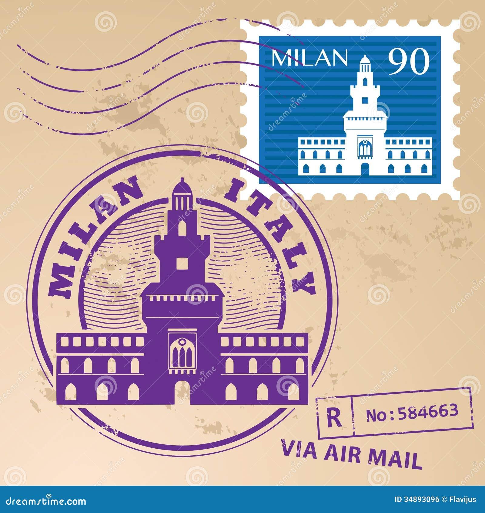 65c16f2dd5 Stamp set Milan stock vector. Illustration of label