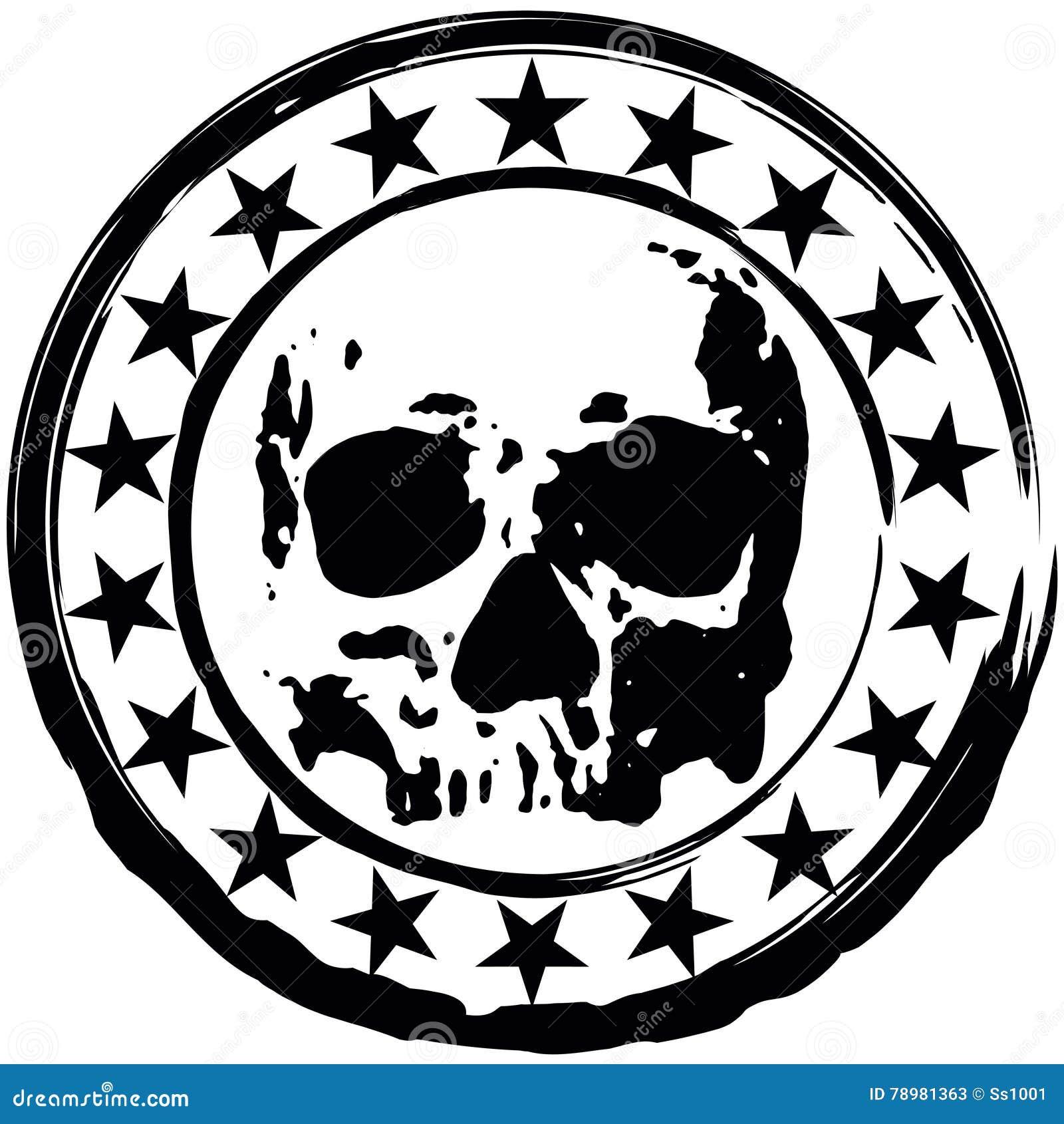Stamp With Skull Stock Vector Illustration Of Dead Demon