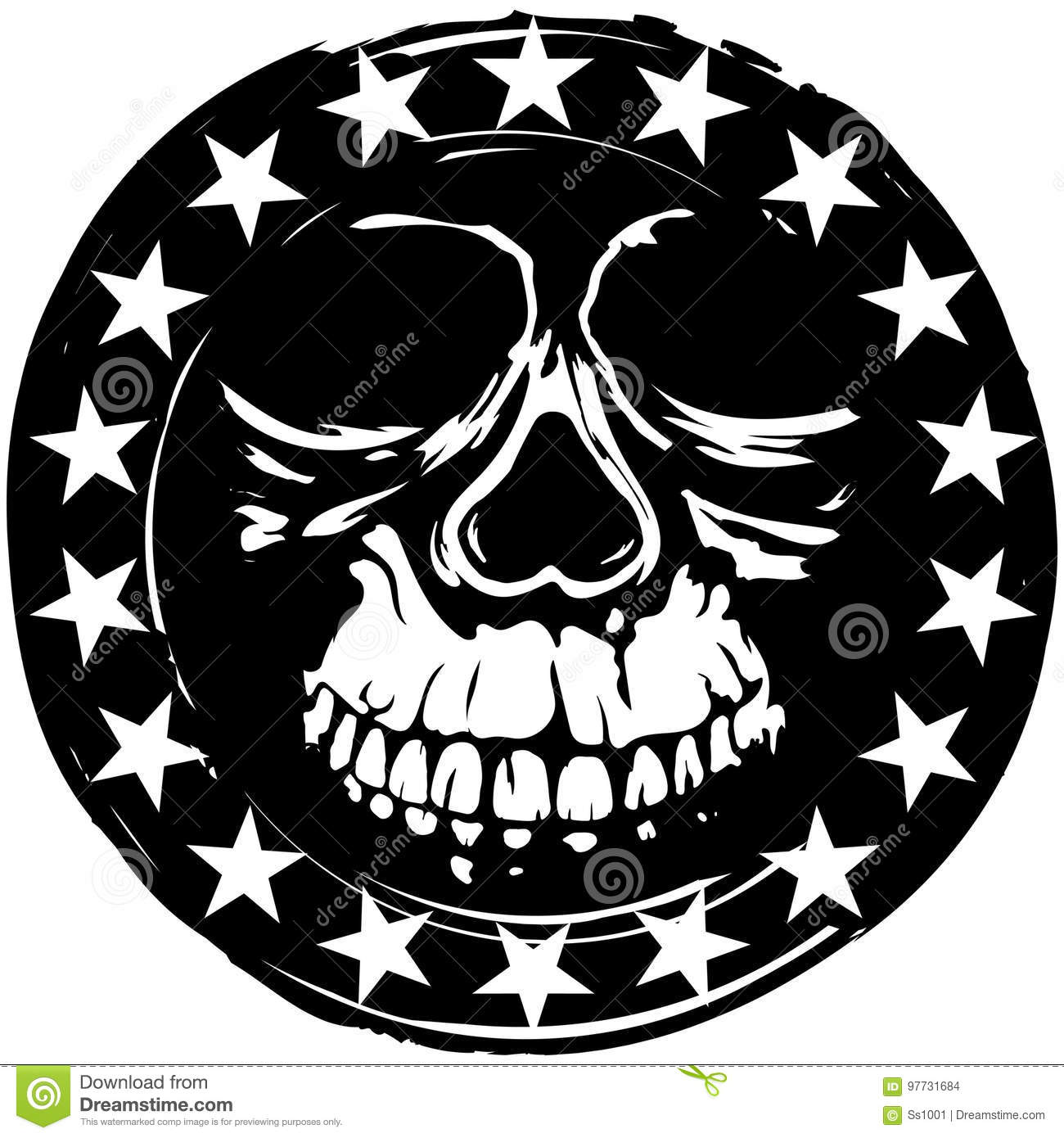 Stamp With Skull Stock Vector Illustration Of Head Circle