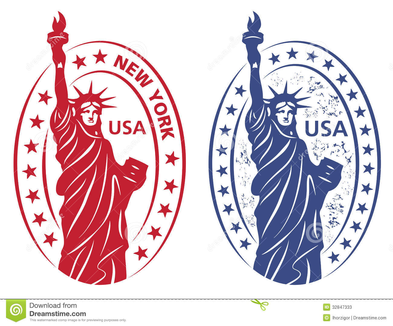 stamp with statue of liberty stock vector