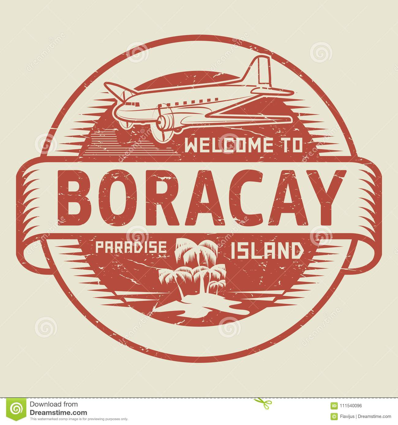 Stamp With The Text Welcome To Boracay Paradise Island