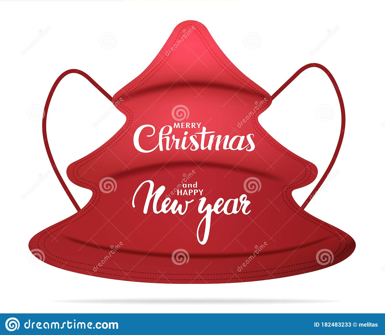 isolated red medical mask in the shape of a fir tree with the inscription merry christmas and happy new year christmas greetings stock vector illustration of lockdown diarrhea 182483233 dreamstime com