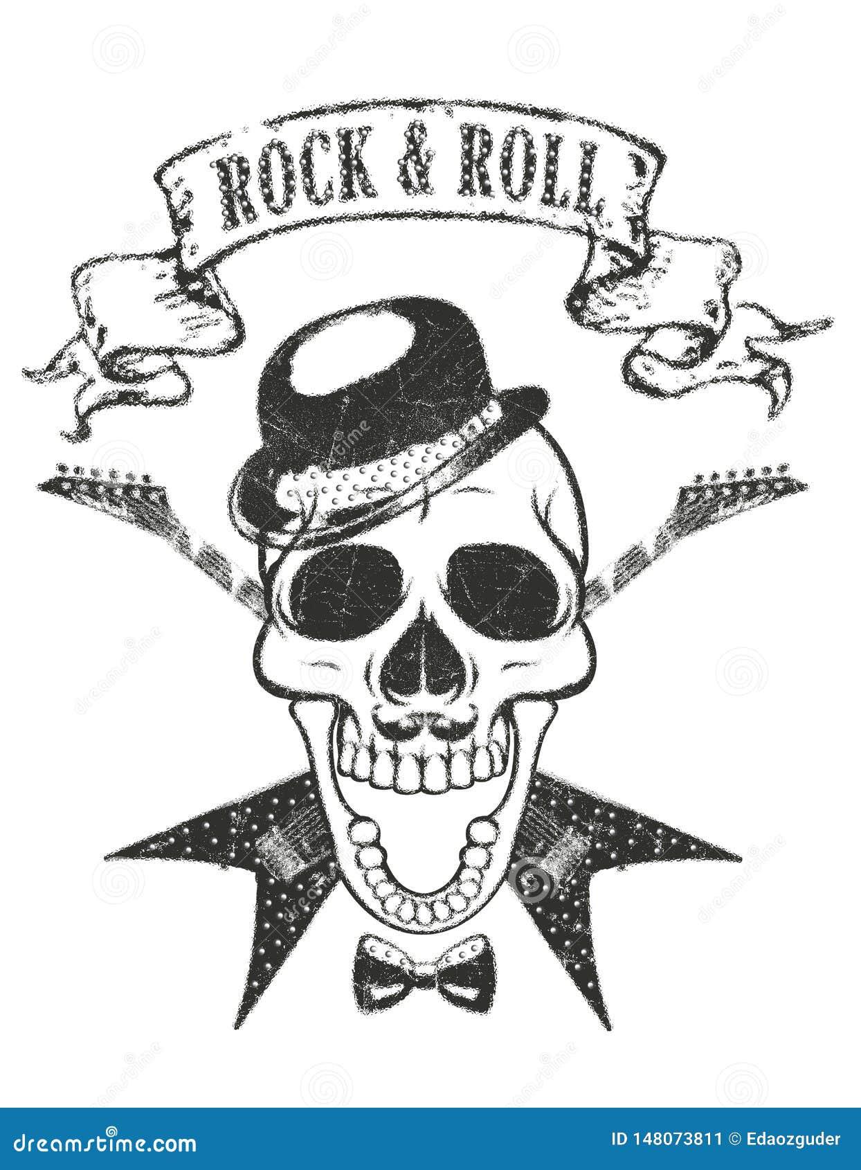 """Stampa della maglietta del cranio e della chitarra, tipografia """"di rock-and-roll """""""