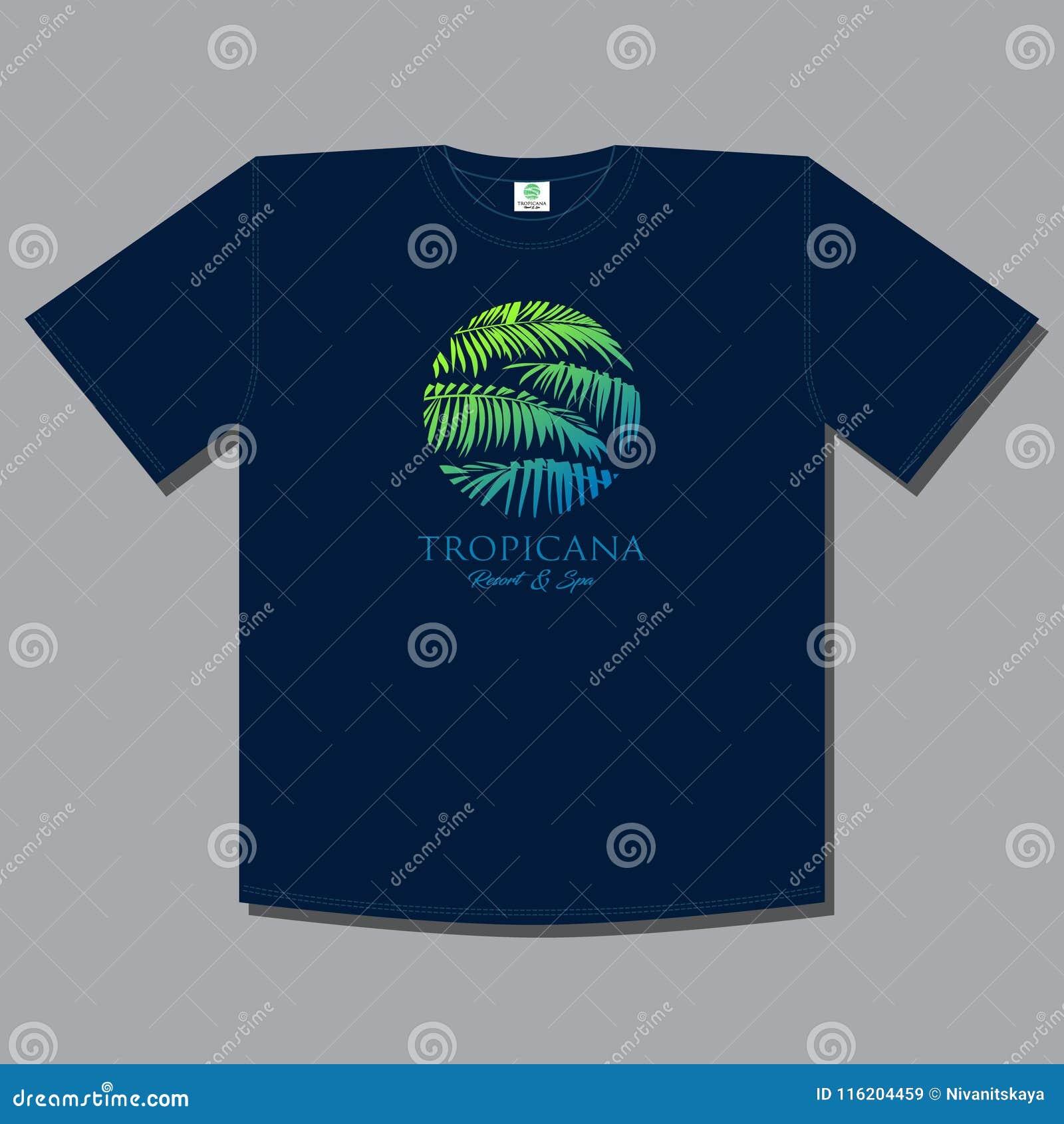 Stampa della maglietta Logo di Tropicana Emblema della stazione termale e della località di soggiorno