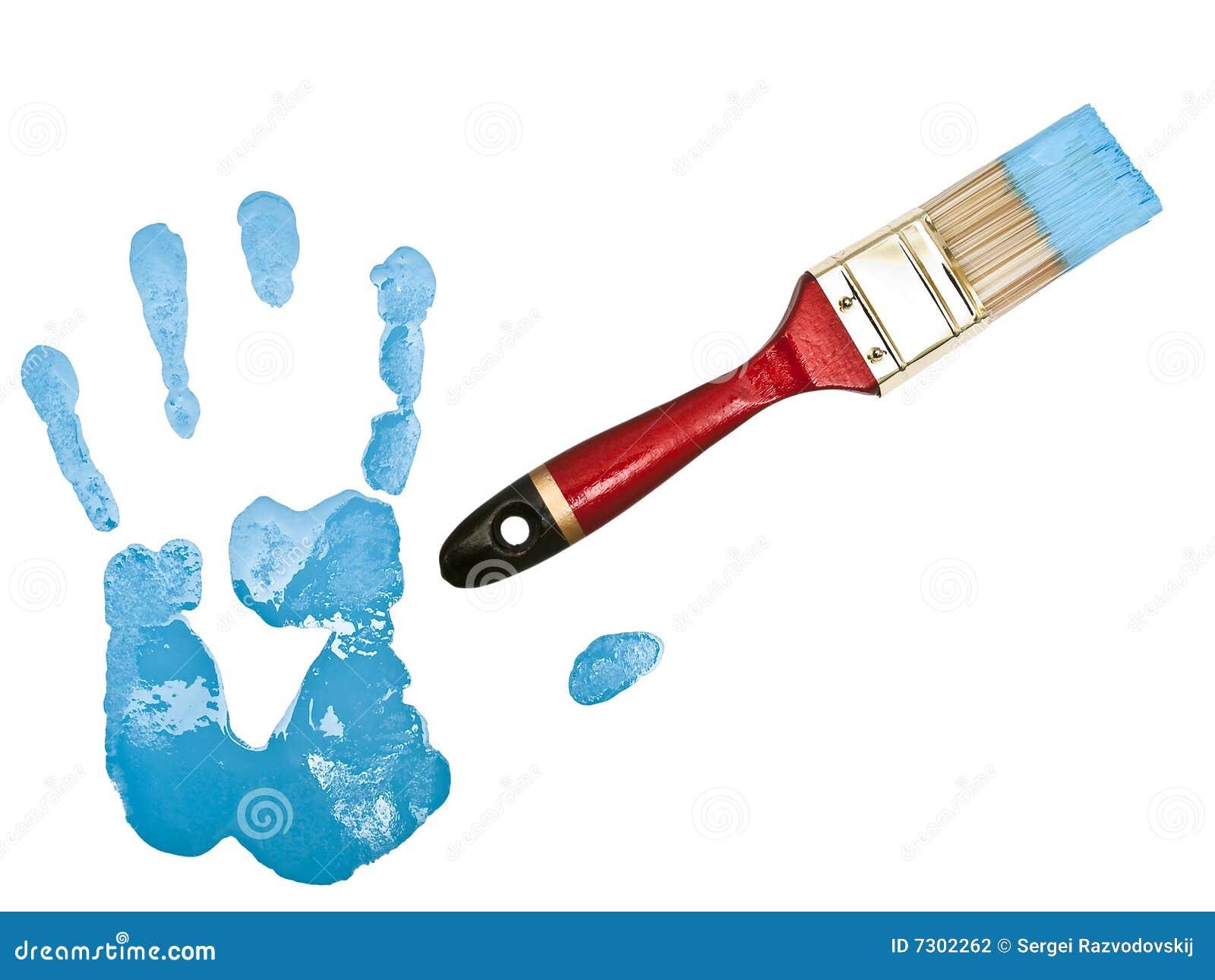 Download Stampa Della Mano Vicino Alla Setola In Azzurro Fotografia Stock - Immagine di illustrazione, estratto: 7302262