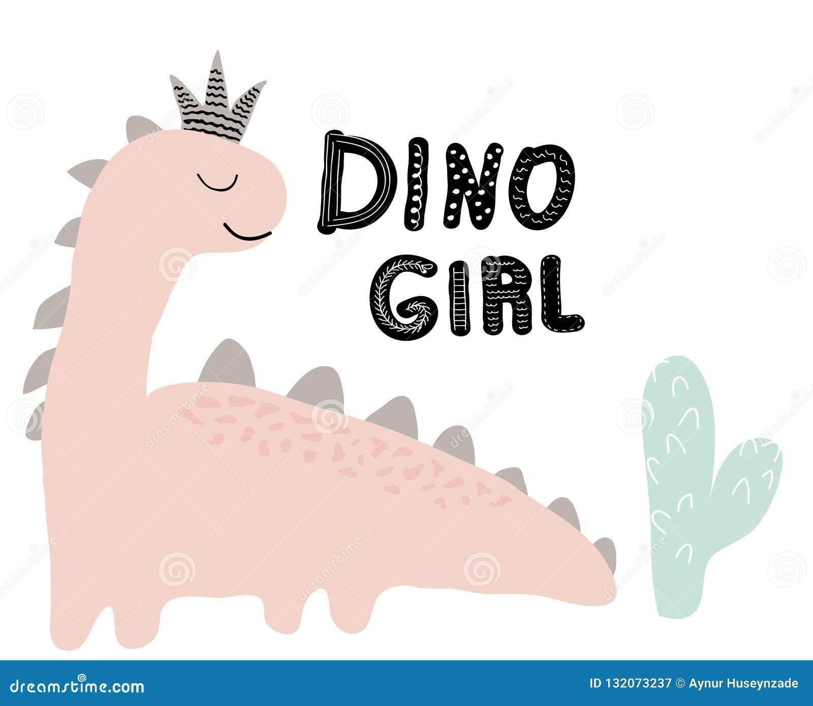 Stampa di vettore della ragazza del dinosauro nello stile scandinavo illustrazione chldish per la maglietta, modo dei bambini, te