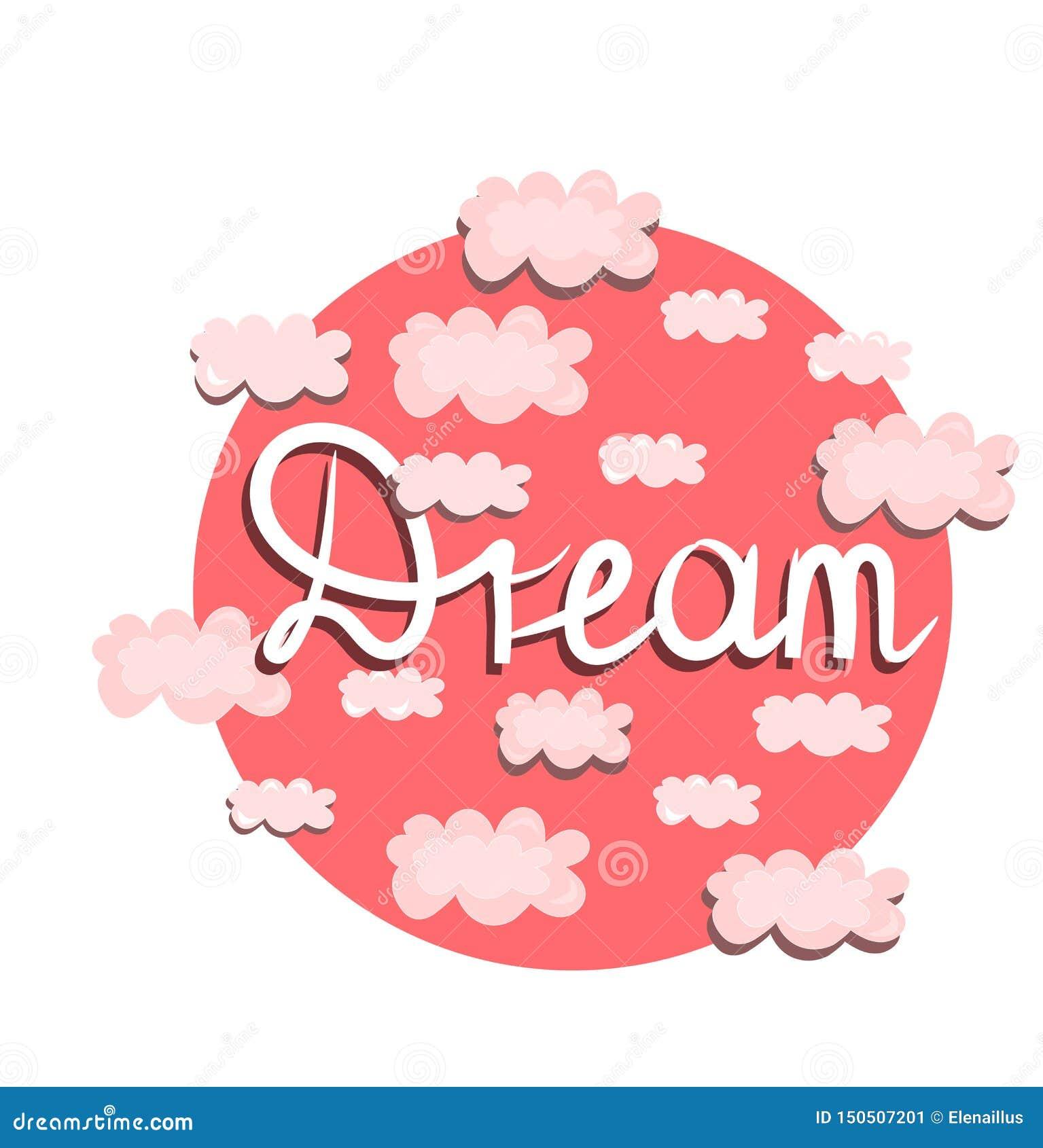 Stampa di vettore, illustrazione con le nuvole rosa Concetto di sogno