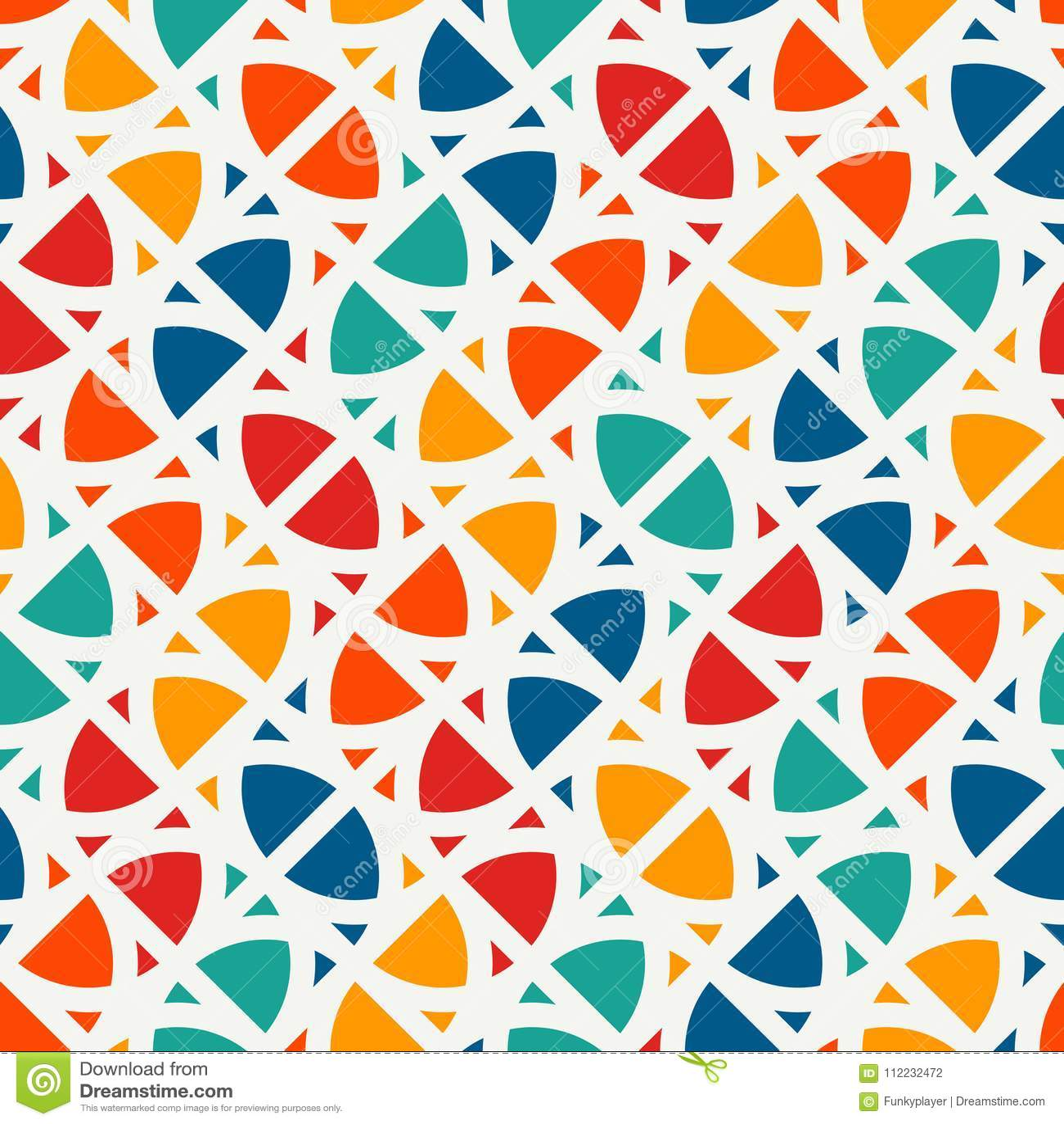Stampa luminosa con le forme geometriche Fondo astratto contemporaneo con le figure ripetute Reticolo senza giunte variopinto